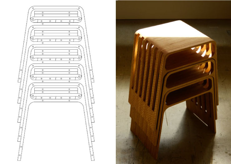 Drawing of the perfectly stacking stool