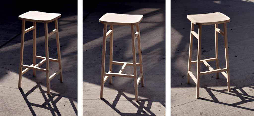 Bracket stool bar stool from the side