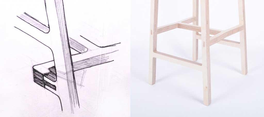 Bracket stool bar stool sketch 1