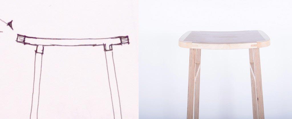 Bracket stool bar stool sketch 2
