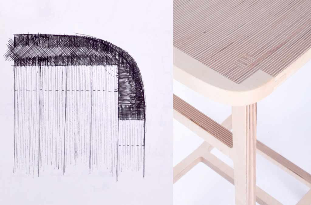 Bracket stool bar stool sketch 3